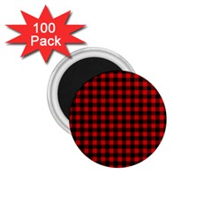 Lumberjack Plaid Fabric Pattern Red Black 1 75  Magnets (100 Pack)  by EDDArt
