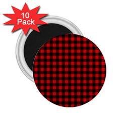 Lumberjack Plaid Fabric Pattern Red Black 2 25  Magnets (10 Pack)  by EDDArt