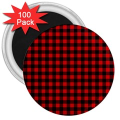 Lumberjack Plaid Fabric Pattern Red Black 3  Magnets (100 Pack) by EDDArt