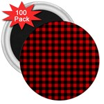 Lumberjack Plaid Fabric Pattern Red Black 3  Magnets (100 pack)