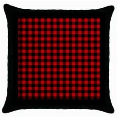 Lumberjack Plaid Fabric Pattern Red Black Throw Pillow Case (black) by EDDArt