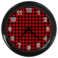 Lumberjack Plaid Fabric Pattern Red Black Wall Clocks (black) by EDDArt