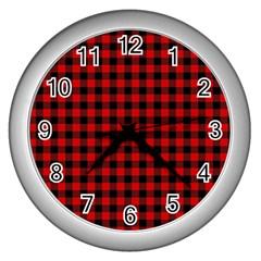 Lumberjack Plaid Fabric Pattern Red Black Wall Clocks (silver)  by EDDArt