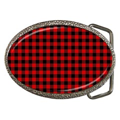 Lumberjack Plaid Fabric Pattern Red Black Belt Buckles by EDDArt