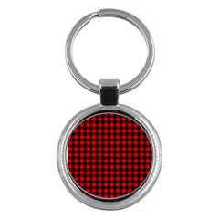 Lumberjack Plaid Fabric Pattern Red Black Key Chains (round)  by EDDArt