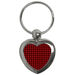 Lumberjack Plaid Fabric Pattern Red Black Key Chains (heart)  by EDDArt