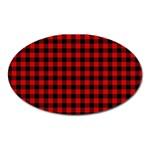 Lumberjack Plaid Fabric Pattern Red Black Oval Magnet