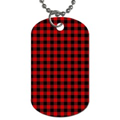 Lumberjack Plaid Fabric Pattern Red Black Dog Tag (one Side) by EDDArt