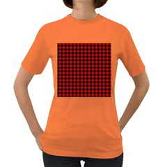 Lumberjack Plaid Fabric Pattern Red Black Women s Dark T Shirt by EDDArt