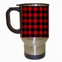 Lumberjack Plaid Fabric Pattern Red Black Travel Mugs (white) by EDDArt
