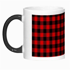 Lumberjack Plaid Fabric Pattern Red Black Morph Mugs by EDDArt