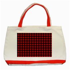 Lumberjack Plaid Fabric Pattern Red Black Classic Tote Bag (red) by EDDArt