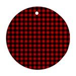 Lumberjack Plaid Fabric Pattern Red Black Round Ornament (Two Sides)