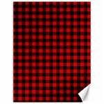 Lumberjack Plaid Fabric Pattern Red Black Canvas 12  x 16