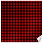 Lumberjack Plaid Fabric Pattern Red Black Canvas 20  x 20