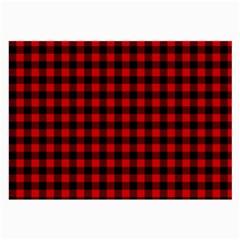 Lumberjack Plaid Fabric Pattern Red Black Large Glasses Cloth by EDDArt