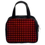 Lumberjack Plaid Fabric Pattern Red Black Classic Handbags (2 Sides)