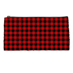 Lumberjack Plaid Fabric Pattern Red Black Pencil Cases by EDDArt