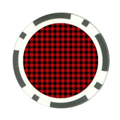 Lumberjack Plaid Fabric Pattern Red Black Poker Chip Card Guards (10 Pack)  by EDDArt