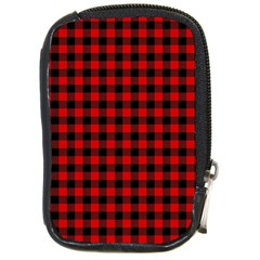 Lumberjack Plaid Fabric Pattern Red Black Compact Camera Cases by EDDArt