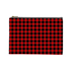 Lumberjack Plaid Fabric Pattern Red Black Cosmetic Bag (large)  by EDDArt