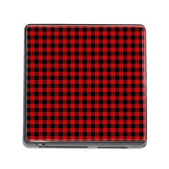 Lumberjack Plaid Fabric Pattern Red Black Memory Card Reader (square) by EDDArt