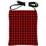 Lumberjack Plaid Fabric Pattern Red Black Shoulder Sling Bags