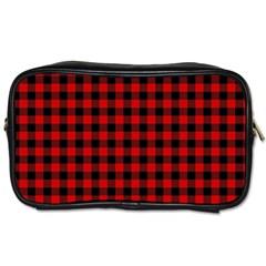 Lumberjack Plaid Fabric Pattern Red Black Toiletries Bags by EDDArt