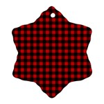 Lumberjack Plaid Fabric Pattern Red Black Ornament (Snowflake)