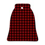 Lumberjack Plaid Fabric Pattern Red Black Ornament (Bell)