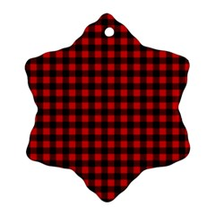 Lumberjack Plaid Fabric Pattern Red Black Snowflake Ornament (2 Side) by EDDArt