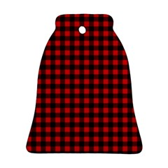 Lumberjack Plaid Fabric Pattern Red Black Bell Ornament (2 Sides) by EDDArt
