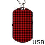 Lumberjack Plaid Fabric Pattern Red Black Dog Tag USB Flash (Two Sides)