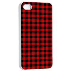 Lumberjack Plaid Fabric Pattern Red Black Apple Iphone 4/4s Seamless Case (white) by EDDArt