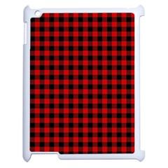 Lumberjack Plaid Fabric Pattern Red Black Apple Ipad 2 Case (white) by EDDArt