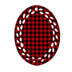 Lumberjack Plaid Fabric Pattern Red Black Oval Filigree Ornament (2 Side)  by EDDArt
