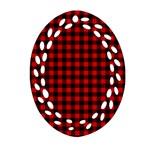 Lumberjack Plaid Fabric Pattern Red Black Oval Filigree Ornament (2-Side)