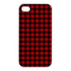 Lumberjack Plaid Fabric Pattern Red Black Apple Iphone 4/4s Premium Hardshell Case by EDDArt