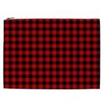 Lumberjack Plaid Fabric Pattern Red Black Cosmetic Bag (XXL)