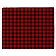 Lumberjack Plaid Fabric Pattern Red Black Cosmetic Bag (xxxl)  by EDDArt