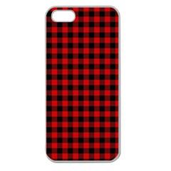 Lumberjack Plaid Fabric Pattern Red Black Apple Seamless Iphone 5 Case (clear) by EDDArt