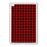 Lumberjack Plaid Fabric Pattern Red Black Apple iPad Mini Case (White)