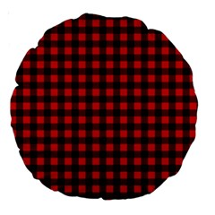 Lumberjack Plaid Fabric Pattern Red Black Large 18  Premium Round Cushions by EDDArt