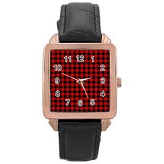 Lumberjack Plaid Fabric Pattern Red Black Rose Gold Leather Watch  by EDDArt
