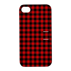 Lumberjack Plaid Fabric Pattern Red Black Apple Iphone 4/4s Hardshell Case With Stand by EDDArt