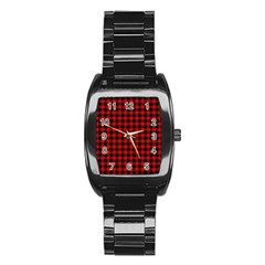 Lumberjack Plaid Fabric Pattern Red Black Stainless Steel Barrel Watch by EDDArt