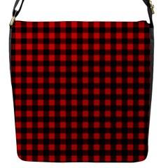 Lumberjack Plaid Fabric Pattern Red Black Flap Messenger Bag (s) by EDDArt