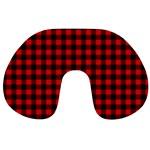 Lumberjack Plaid Fabric Pattern Red Black Travel Neck Pillows