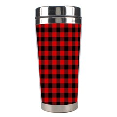 Lumberjack Plaid Fabric Pattern Red Black Stainless Steel Travel Tumblers by EDDArt
