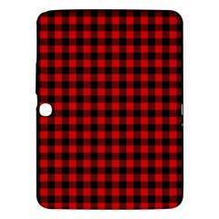 Lumberjack Plaid Fabric Pattern Red Black Samsung Galaxy Tab 3 (10 1 ) P5200 Hardshell Case  by EDDArt